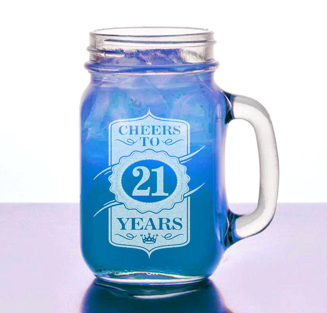 Mason Jar Birthday Gift Ideas  21st Birthday Gift for Her Him 16 Oz Mason Jar Cheers to 21
