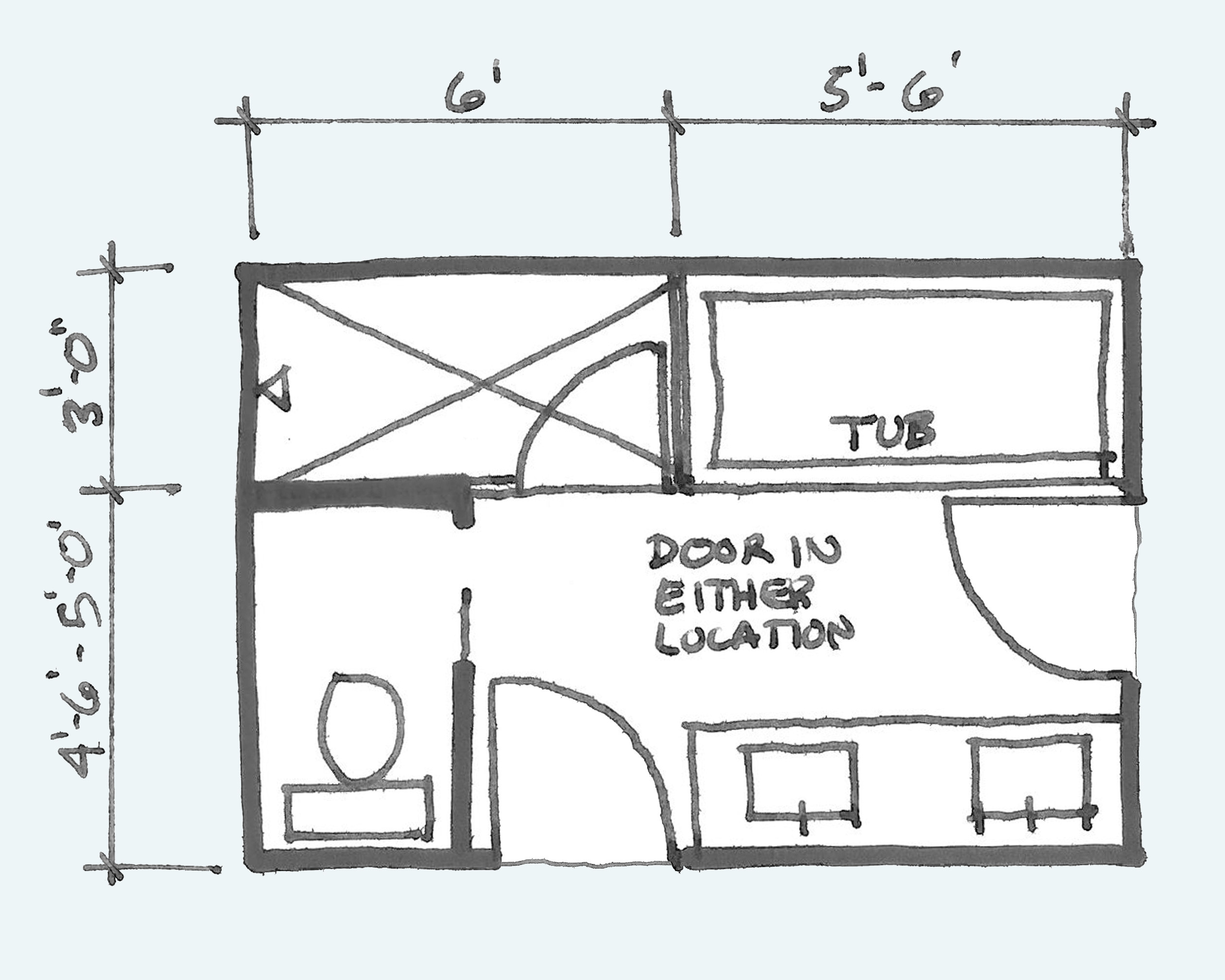 Master Bathroom Dimensions  mon Bathroom Floor Plans Rules of Thumb for Layout