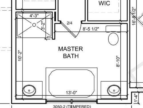 Master Bathroom Layout Plans  Master bath layout tub placement