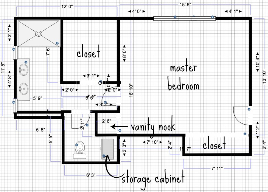 Master Bathroom Layout Plans  Plans & Ideas for Our Bathroom Addition
