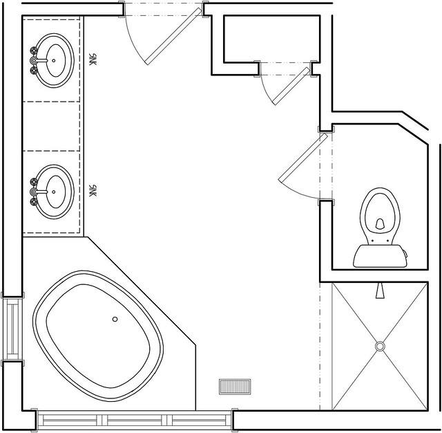 Master Bathroom Layout Plans  Master Bath Before Floor Plan