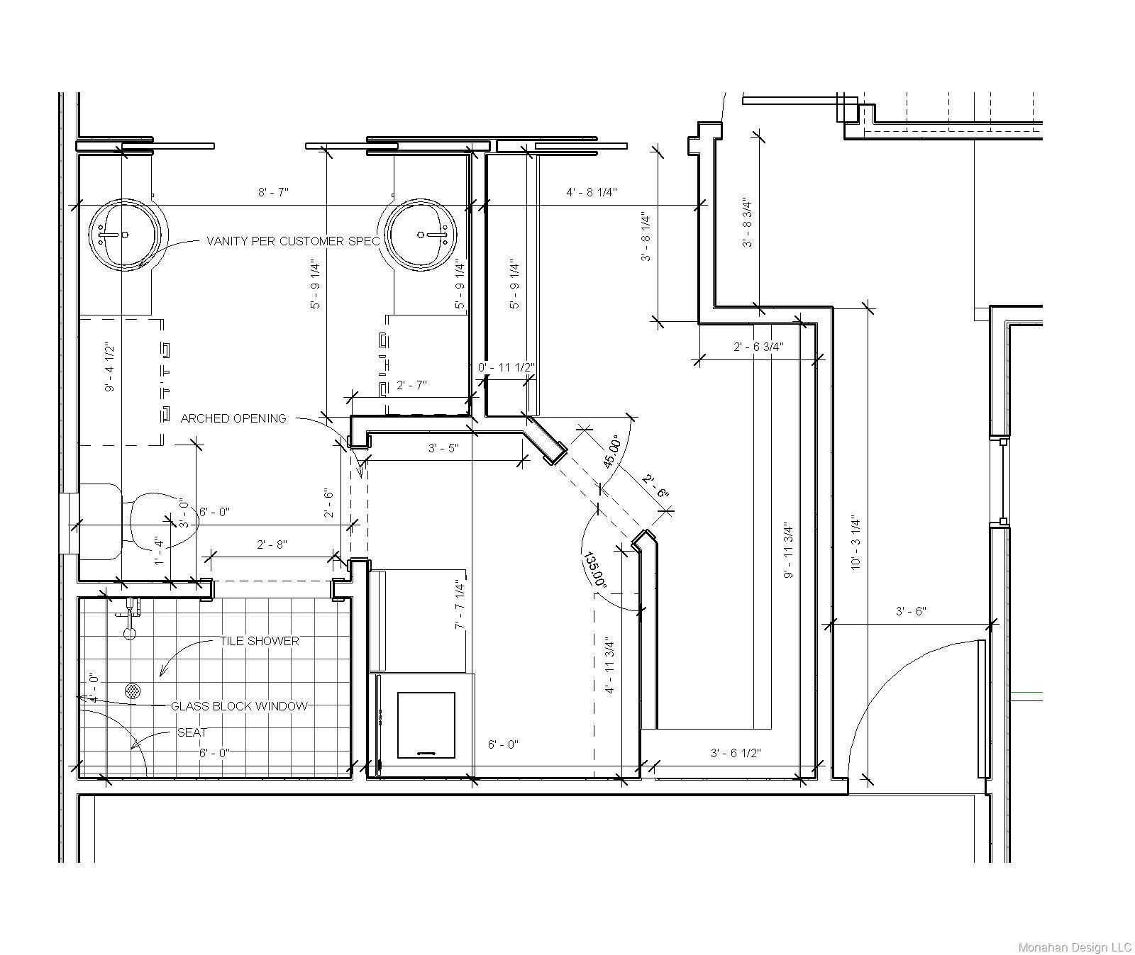 Master Bathroom Layout Plans  Hunsinger Addition major renovation Lake Leann – Monahan