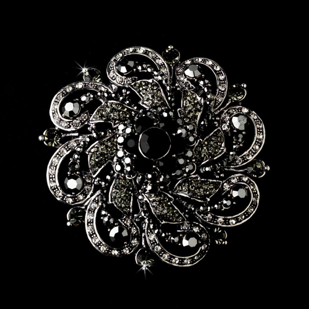 Metal Brooches  Antique Silver w Black Rhinestones Flower Brooch 79