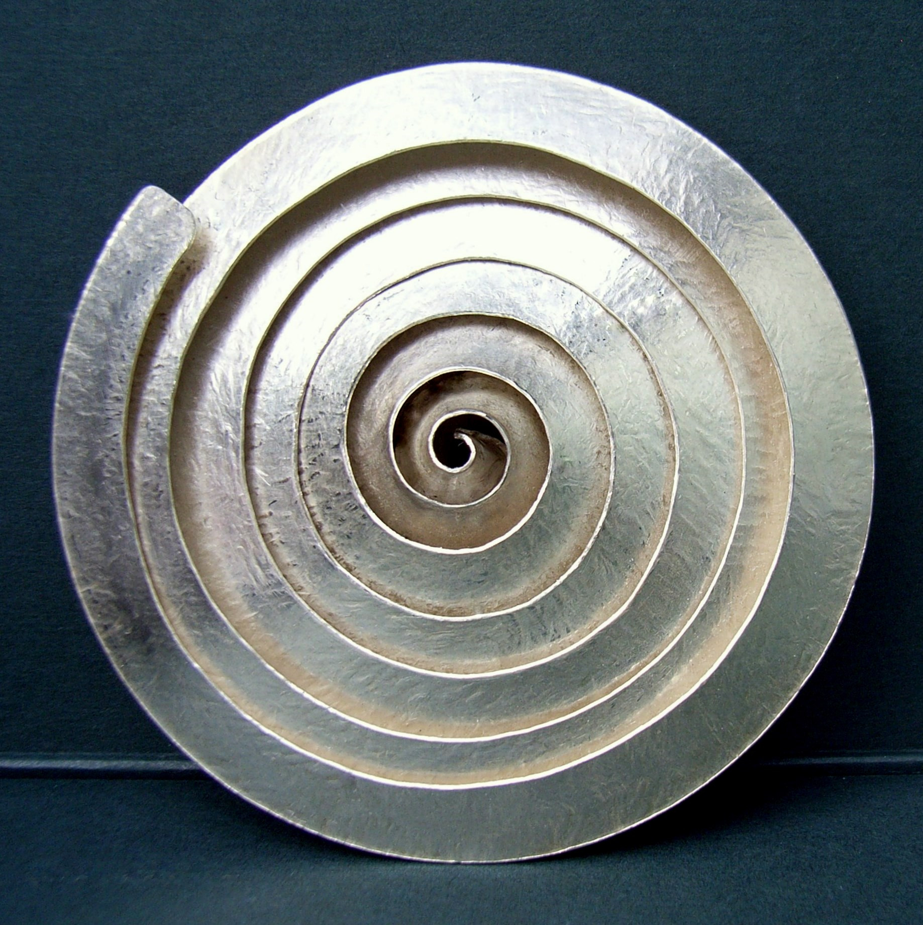 Metal Brooches  Spiral silver brooch