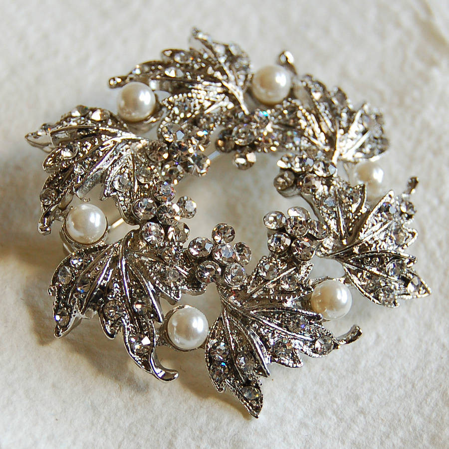 Metal Brooches  Silver Wreath Brooch By Highland Angel