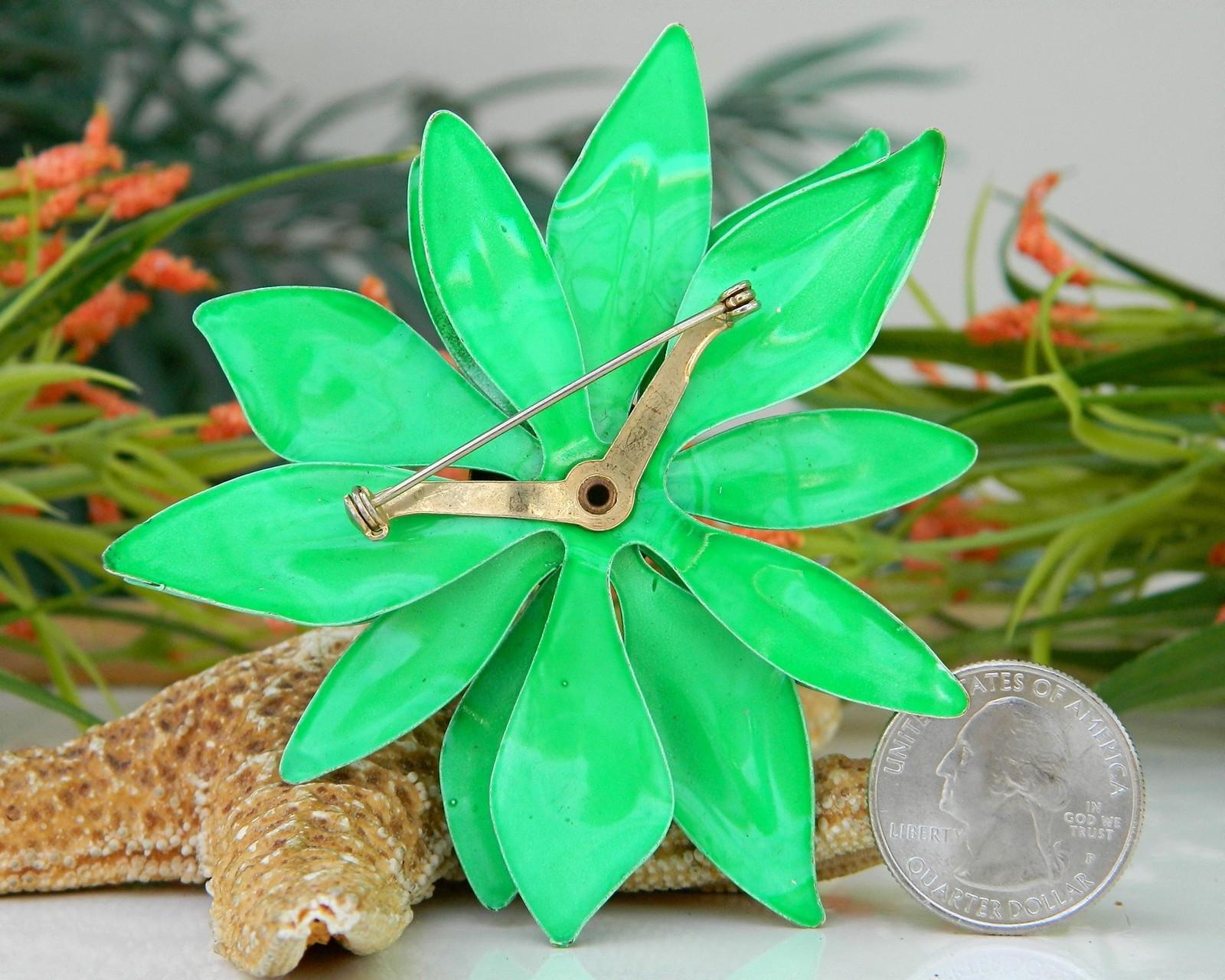 Metal Brooches  Vintage Metal Enamel Flower Brooch Pin Bright Green