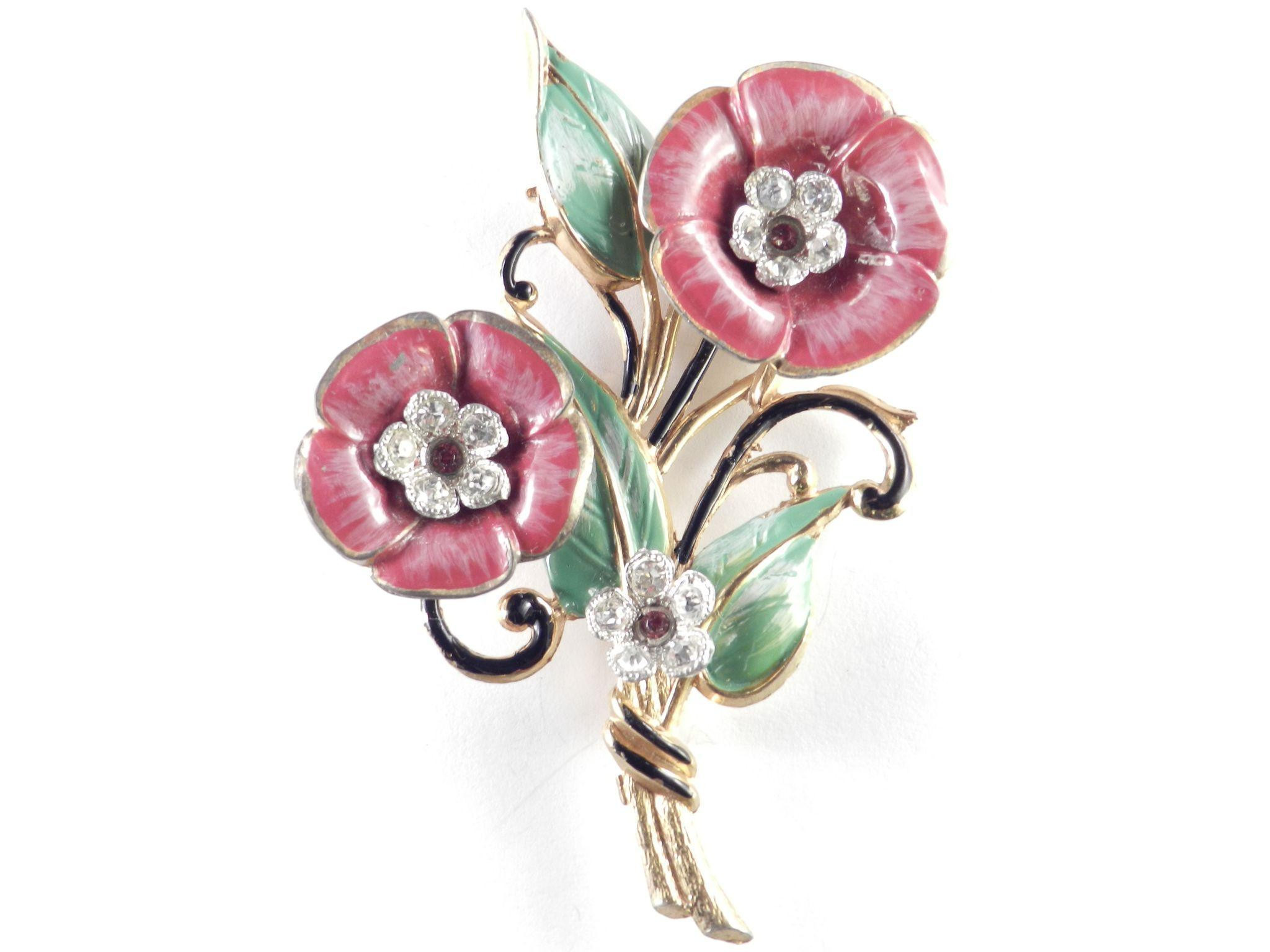 Metal Brooches  Enamel Rhinestone Pot Metal Flower Brooch Pin from