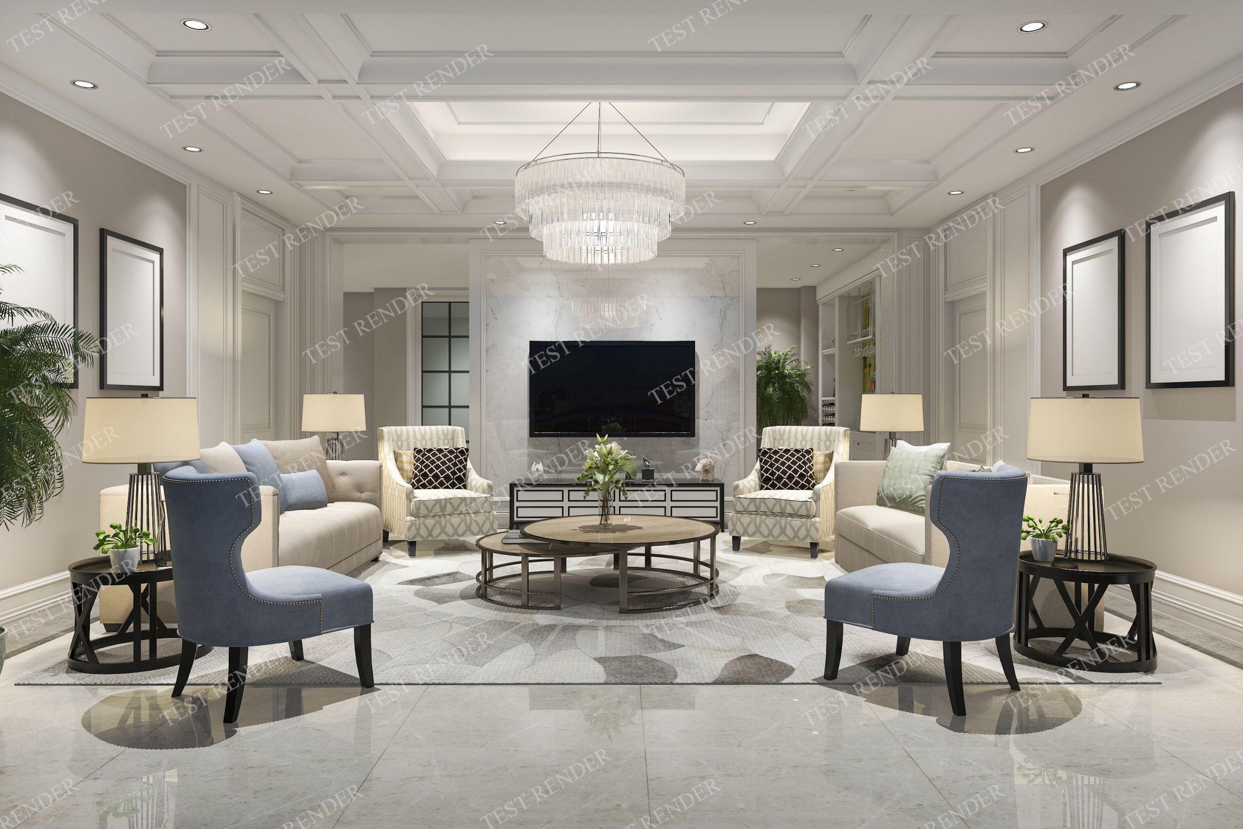 Modern Luxury Living Room  classic modern luxury living room with tv 3D model