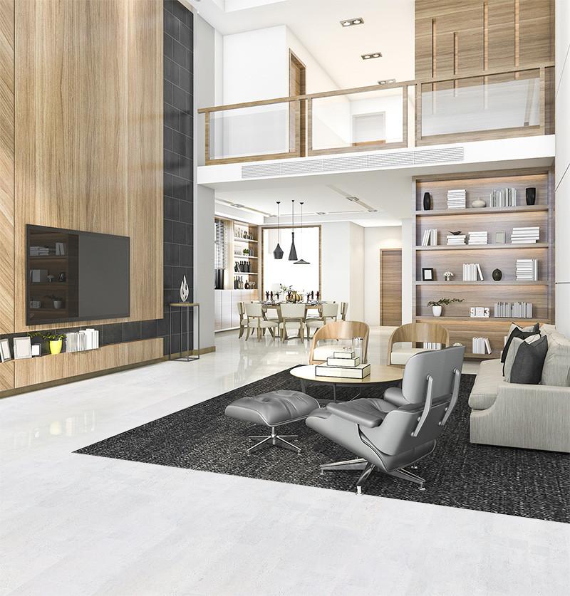 Modern Luxury Living Room  White Cork Floor White Leather 12mm Floating Forna
