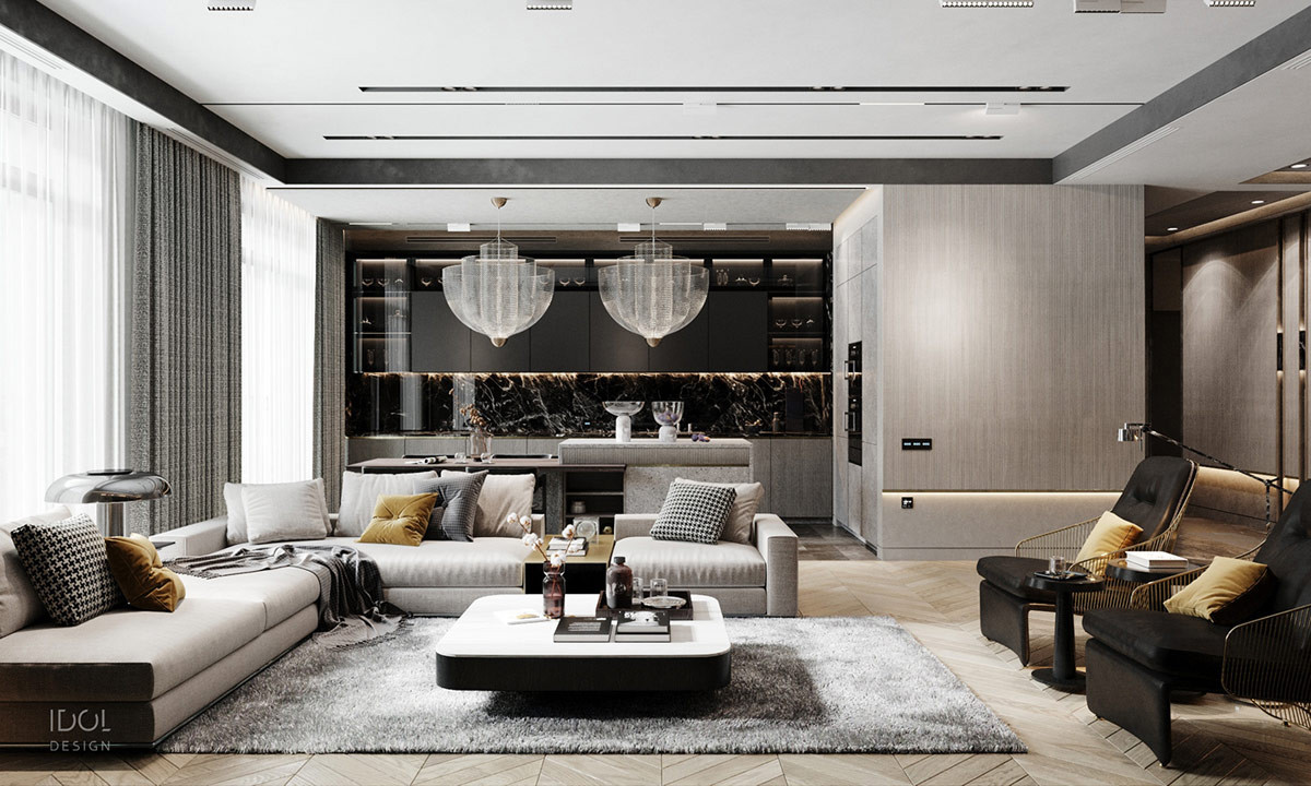 Modern Luxury Living Room  Luxury Modern Living In Grey And Gold