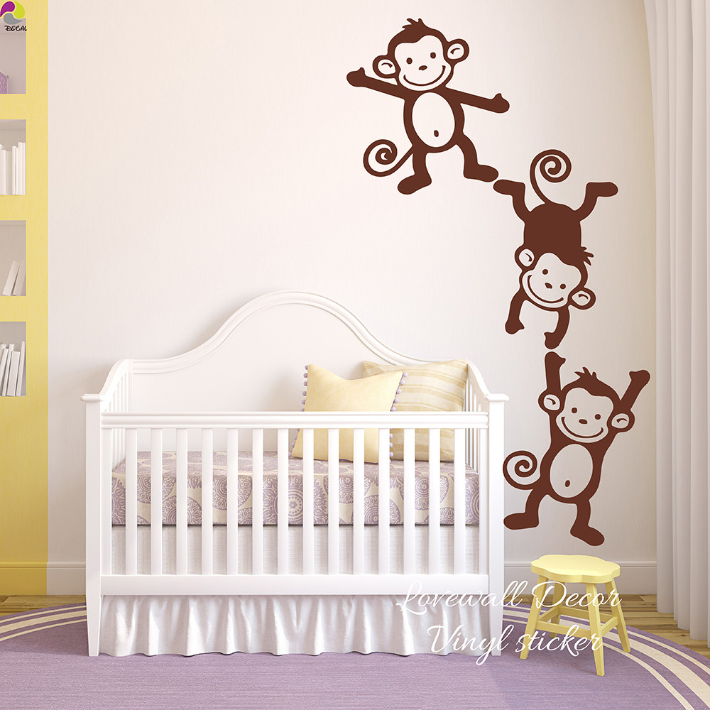 Monkey Baby Decor  Set of 3 Monkey Wall Sticker Baby Nursery Kids Room