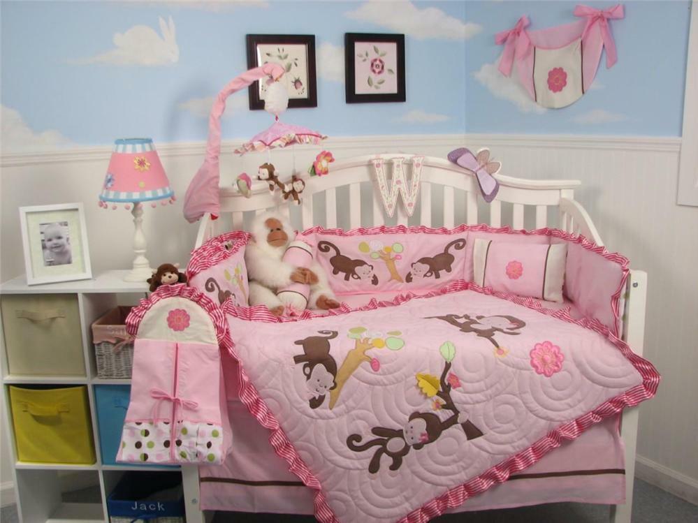 Monkey Baby Decor  SoHo Melanie the Monkey Baby Crib Nursery Bedding 13 pcs