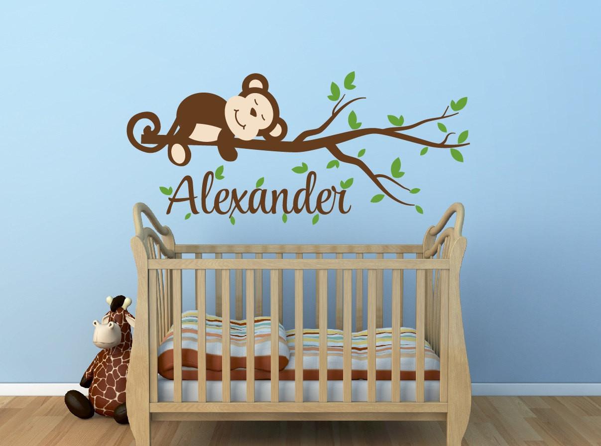 Monkey Baby Decor  Monkey Decal Monkey Name Decal Nursery Decor Monkey Nursery