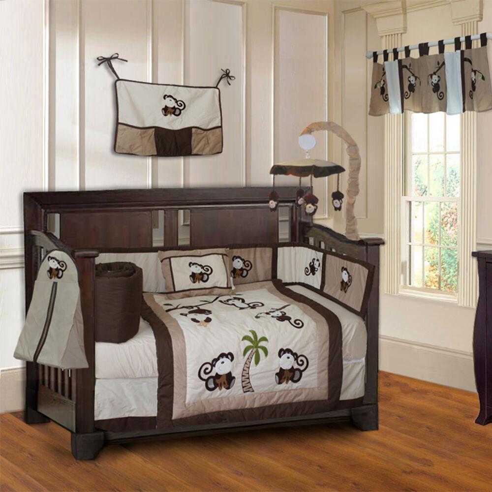 Monkey Baby Decor  10 Piece Monkey Boys Baby Crib Bedding set includes