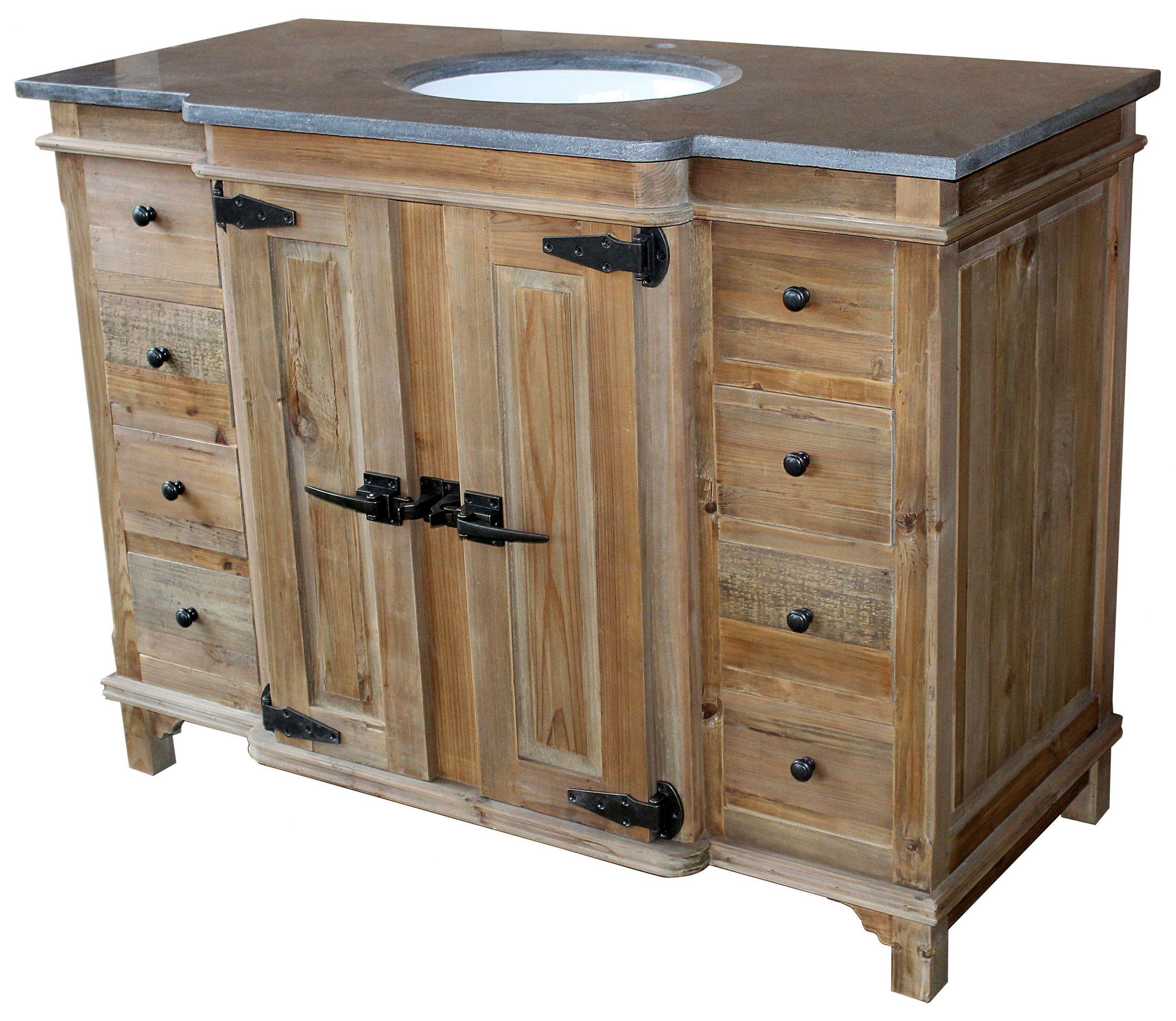 """Natural Wood Bathroom Vanities  48"""" Handcrafted Reclaimed Pine Solid Wood Single Fridgey"""