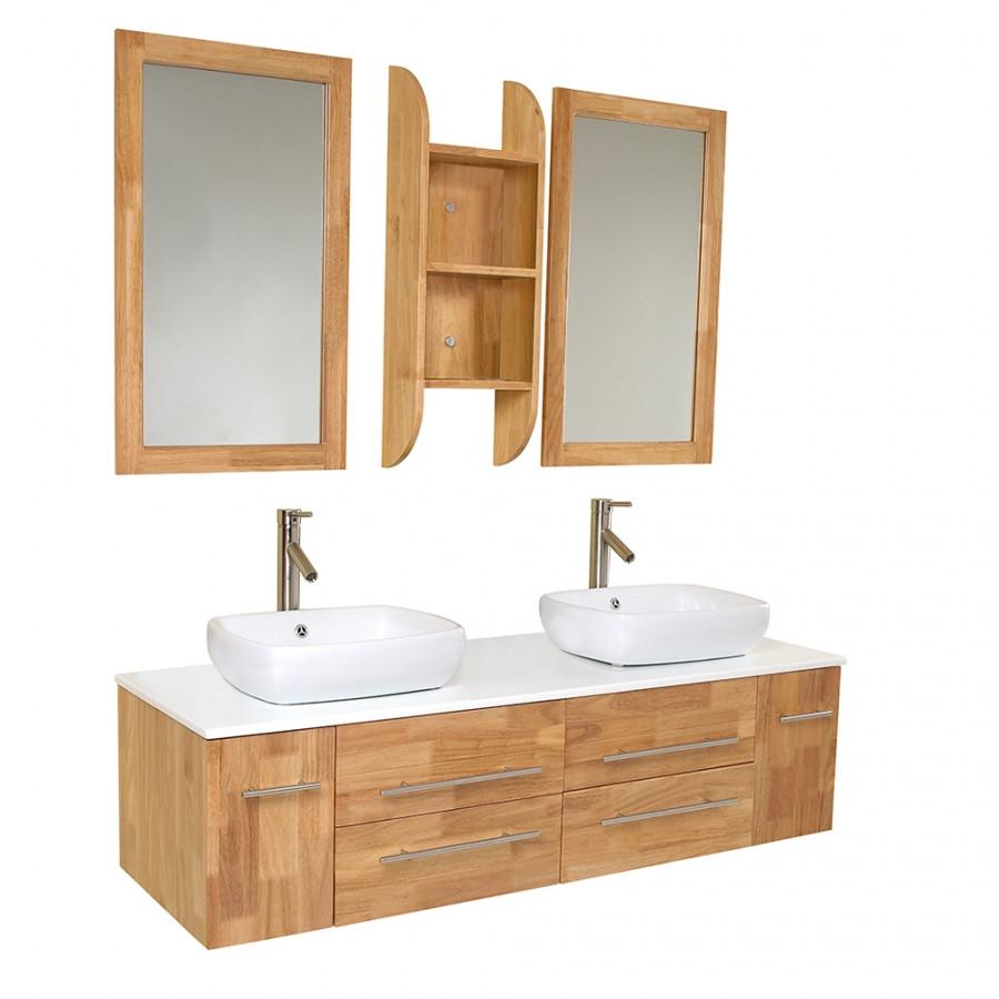 Natural Wood Bathroom Vanities  59 Inch Natural Wood Modern Double Vessel Sink Bathroom