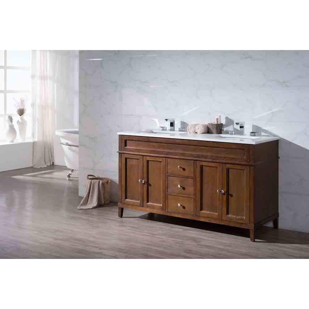 "Natural Wood Bathroom Vanities  Stufurhome Hamilton 59"" Double Sink Bathroom Vanity with"