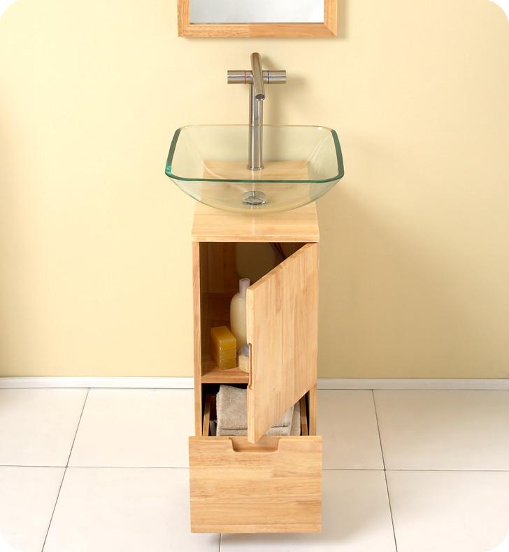 """Natural Wood Bathroom Vanities  17"""" Brilliante Single Vessel Sink Vanity Natural Wood"""