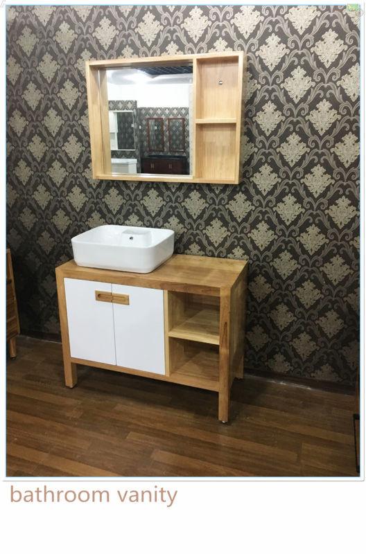 Natural Wood Bathroom Vanities  100cm Natural Wood Square Sinks Bathroom Vanities Small