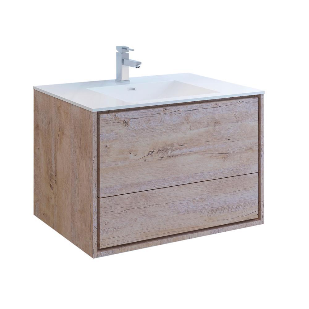 Natural Wood Bathroom Vanities  Fresca Catania 36 in Modern Wall Hung Bath Vanity in