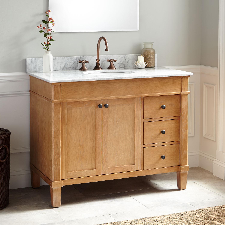 "Natural Wood Bathroom Vanities  42"" Marilla Oak Vanity Bathroom"