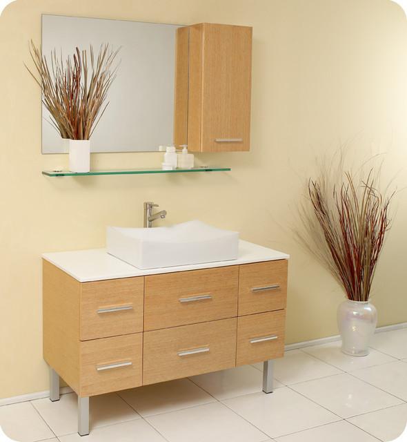 """Natural Wood Bathroom Vanities  43 5"""" Distante Single Vessel Sink Vanity Natural Wood"""