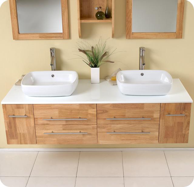 "Natural Wood Bathroom Vanities  59"" Bellezza Double Vessel Sink Vanity Natural Wood"