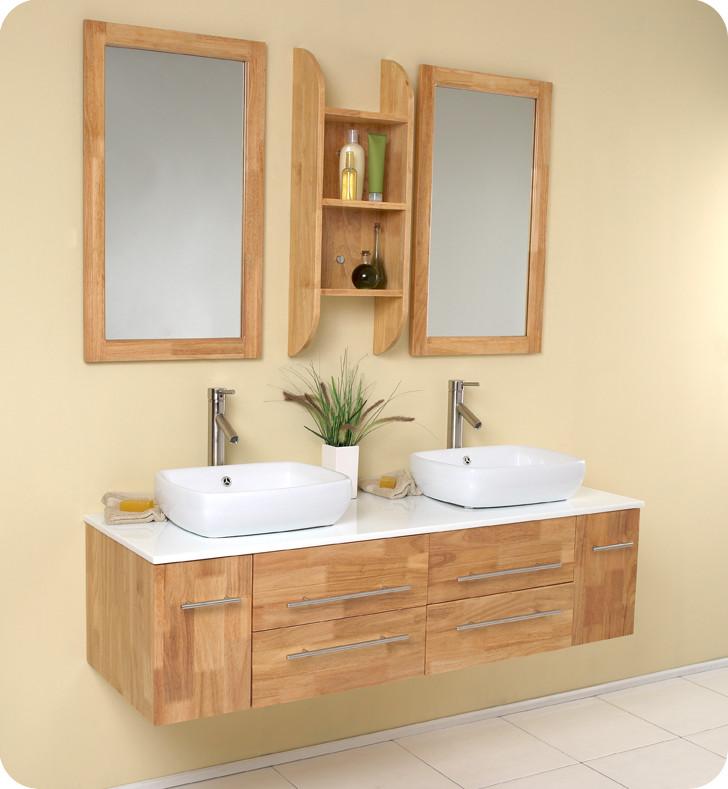 Natural Wood Bathroom Vanities  Fresca Bellezza Natural Wood Vessel Sinks Vanity