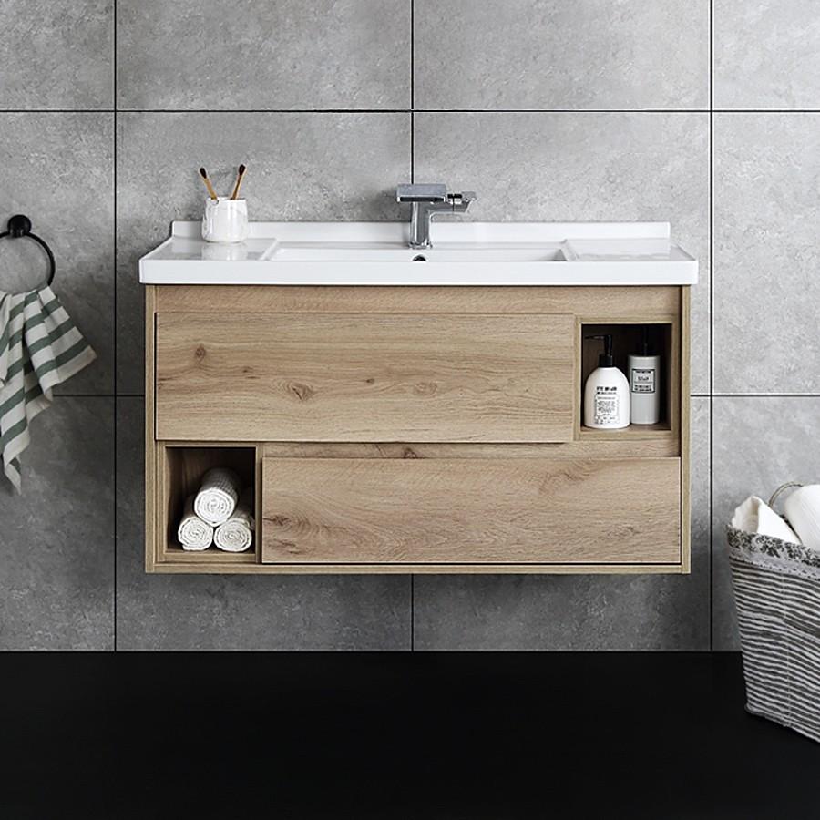 Natural Wood Bathroom Vanities  Floating Bathroom Vanity Wall Mounted Single Bathroom