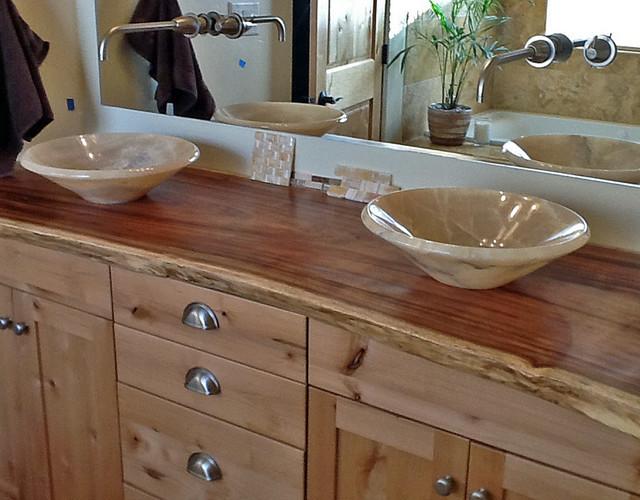 Natural Wood Bathroom Vanities  yx Vessel Sinks on Natural Edge Wood Slab Vanity Top