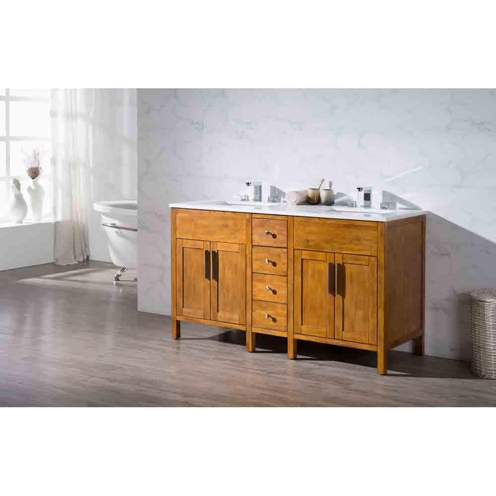 """Natural Wood Bathroom Vanities  Stufurhome Evangeline 59"""" Double Sink Bathroom Vanity with"""