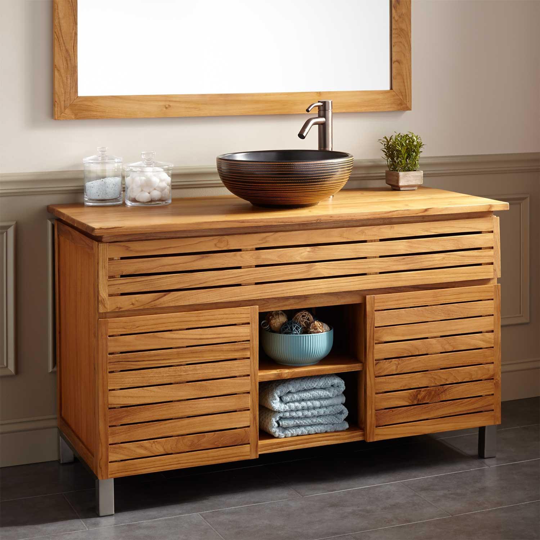 """Natural Wood Bathroom Vanities  48"""" Caldwell Teak Vessel Sink Vanity Natural Teak Bathroom"""