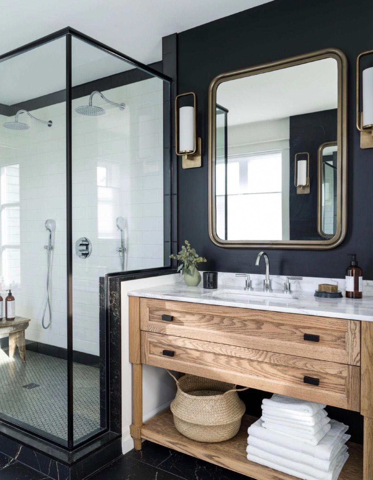 Natural Wood Bathroom Vanities  Modern Bathroom with Dark Walls Natural Wood Vanity