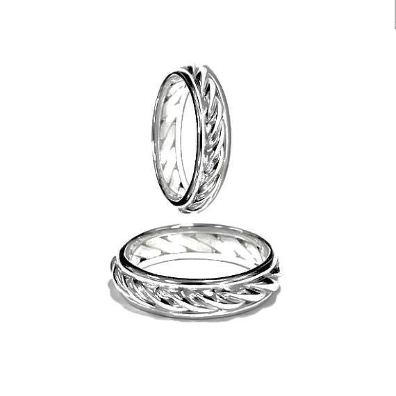 Nautical Wedding Bands  Nautical Ring Band Wedding Rings Set Silver by