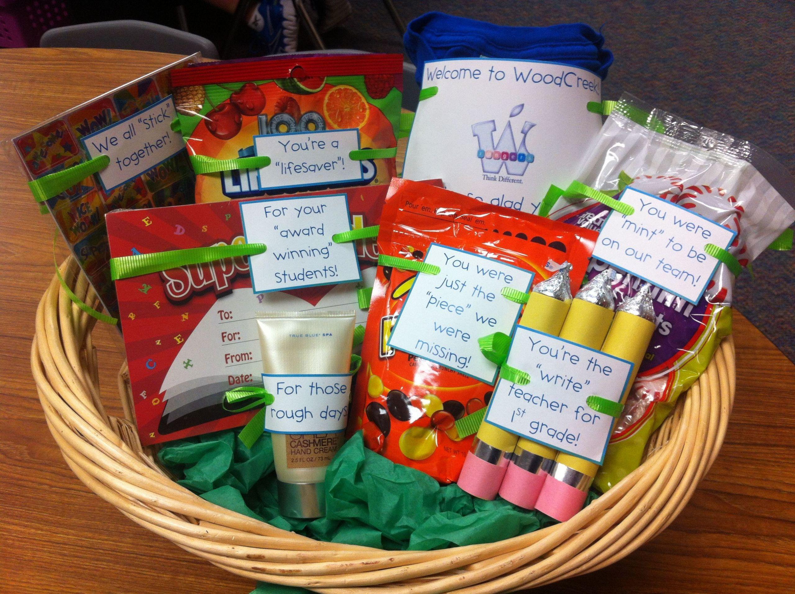 New Teacher Gift Basket Ideas  Wel e to the team teacher t To cute what a GREAT