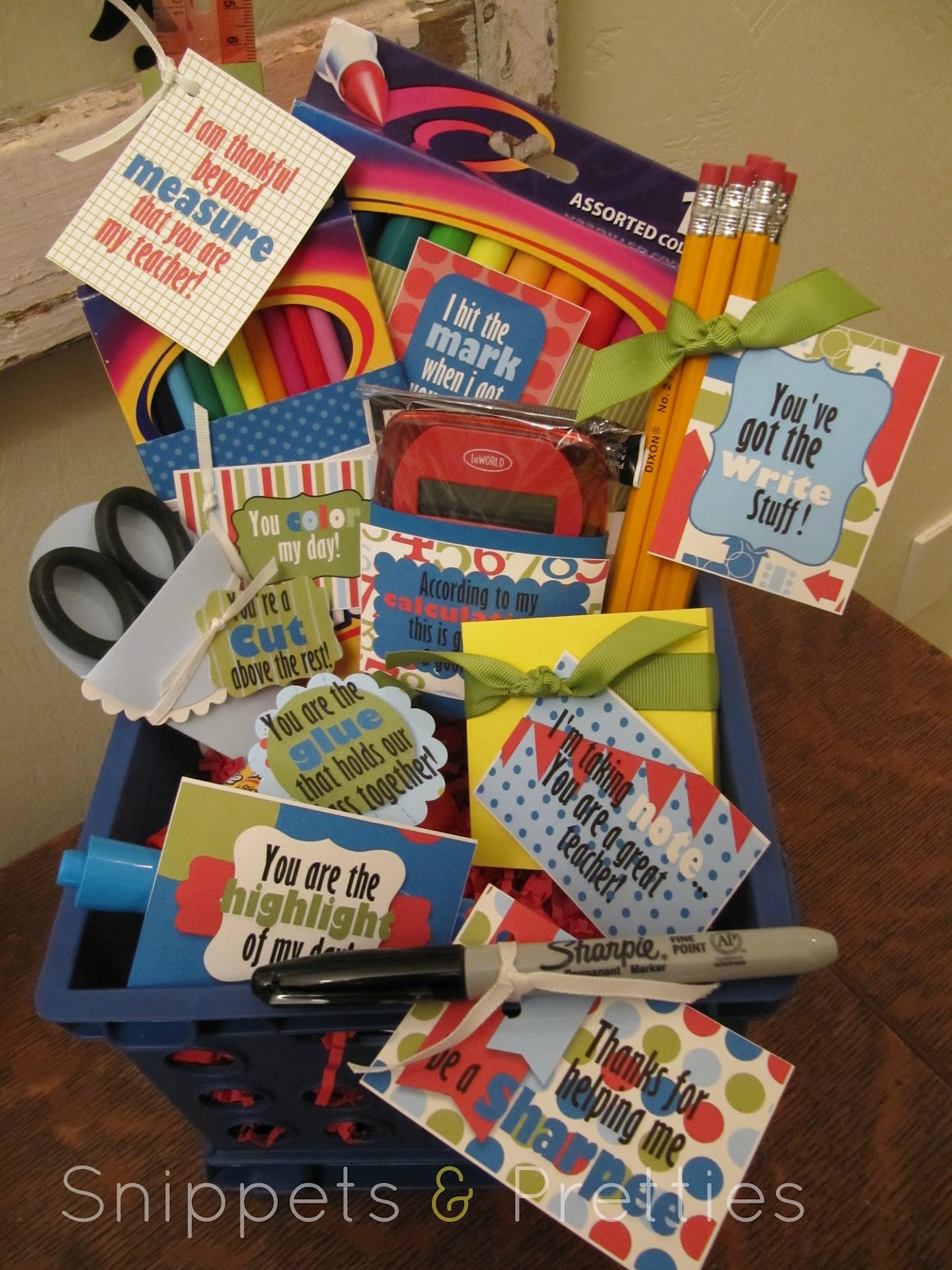 New Teacher Gift Basket Ideas  Snippets and Pretties August 2012