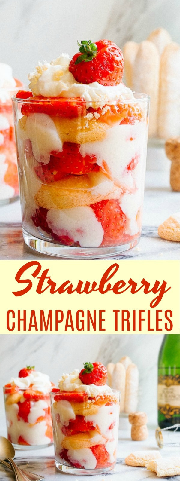 New Year Day Dessert Traditions  Strawberry Champagne Trifles for Two