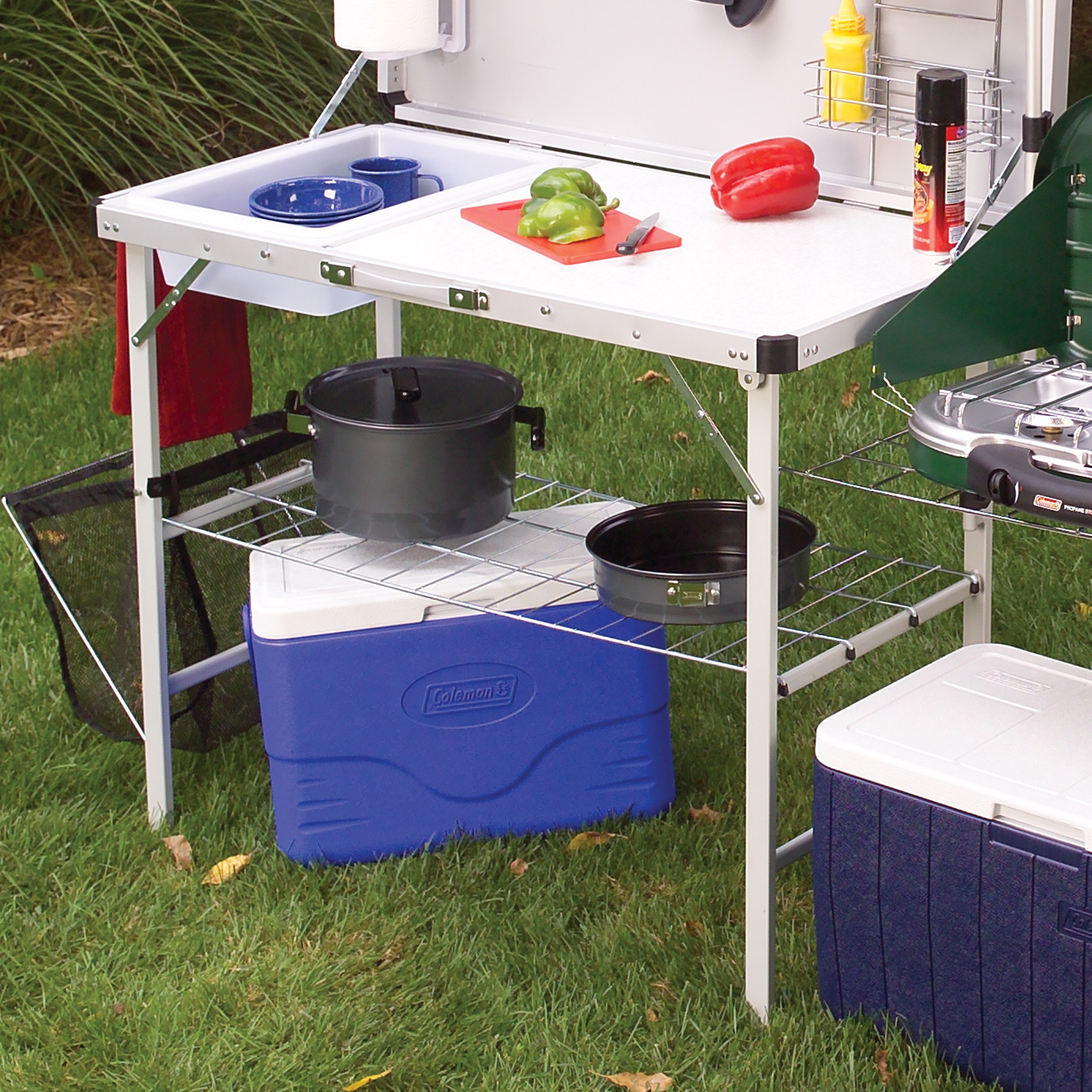 Outdoor Camping Kitchen With Sink  Coleman Packaway Camp Kitchen Folding Travel Portable Set