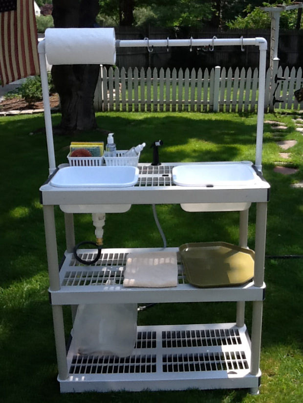 Outdoor Camping Kitchen With Sink  Handy DIY Camp Kitchen With Working Sink 50 Campfires