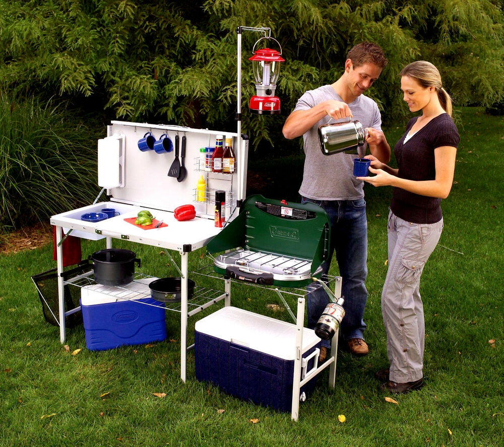 Outdoor Camping Kitchen With Sink  Camp Kitchen Portable Folding Deluxe Table Outdoor Cooking