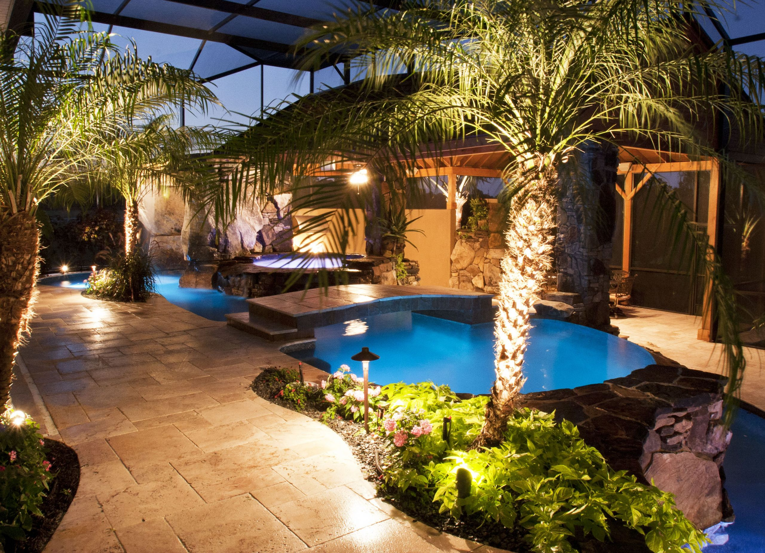 Outdoor Kitchen And Pool  Lucas Lagoons Swimming Pool and Spa with Outdoor Kitchen