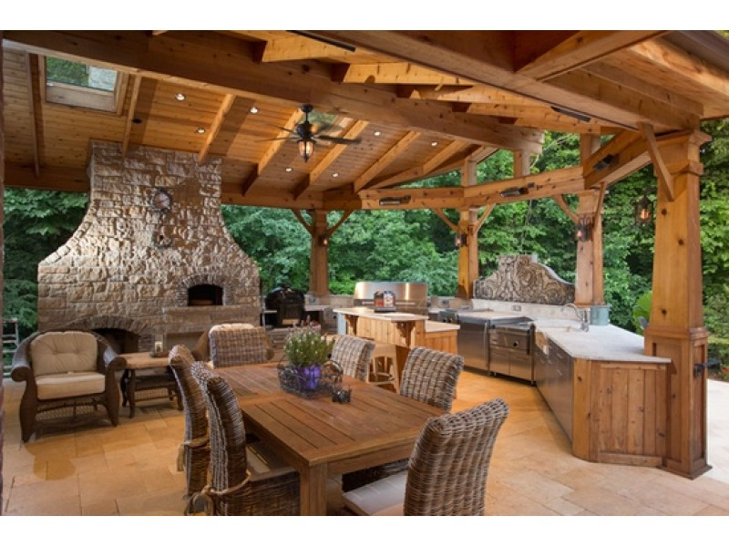 Outdoor Kitchen And Pool  House Wow Pool With Waterfall Heated Outdoor Kitchen