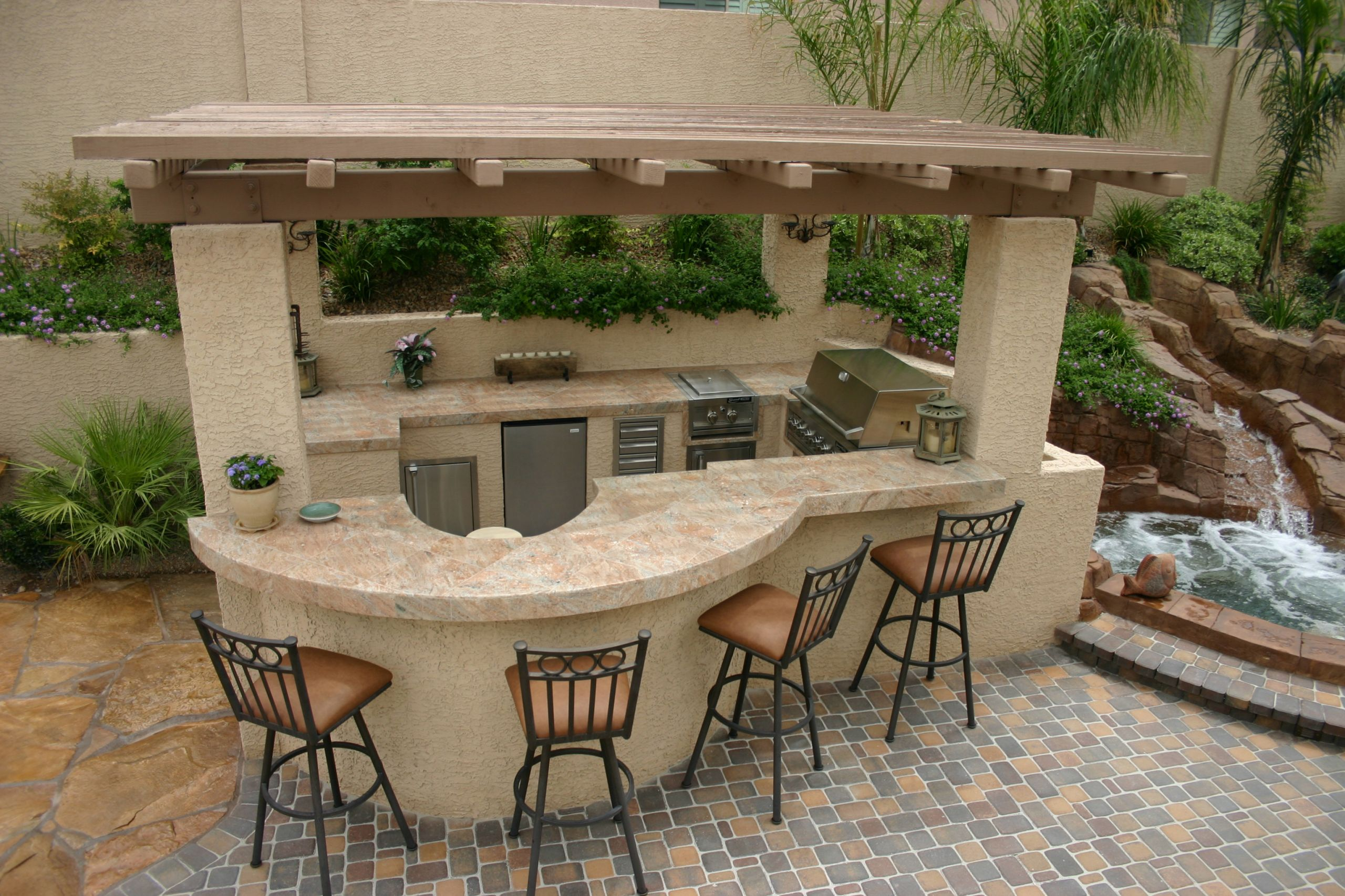 Outdoor Kitchen And Pool  Polynesian Swimming Pools