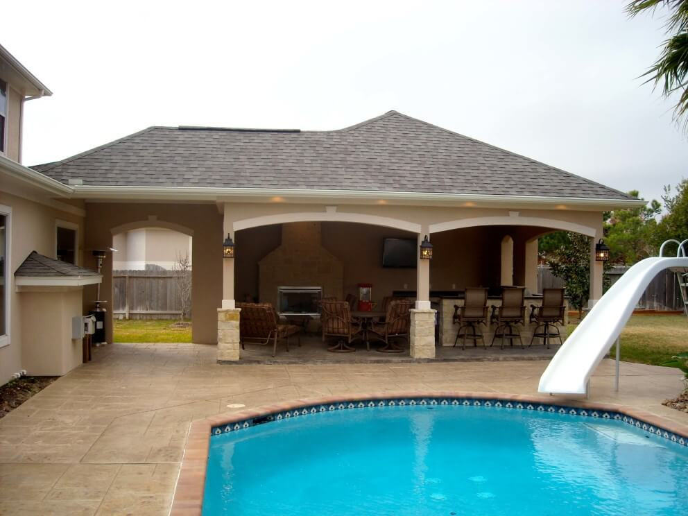 Outdoor Kitchen And Pool  Pool House With Outdoor Kitchen & Fireplace In Cypress