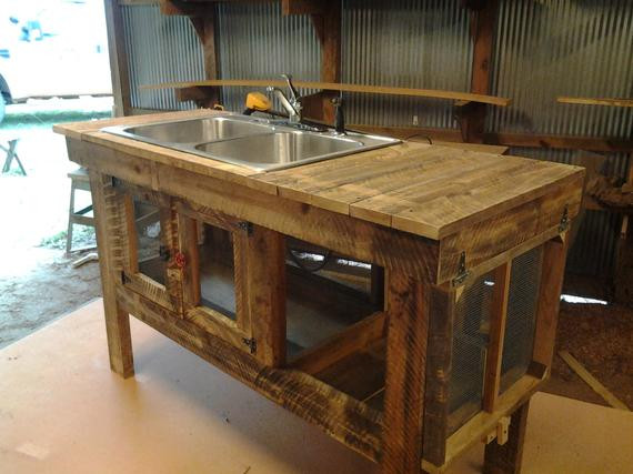 Outdoor Kitchen Sink  Items similar to Rustic outdoor sink on Etsy