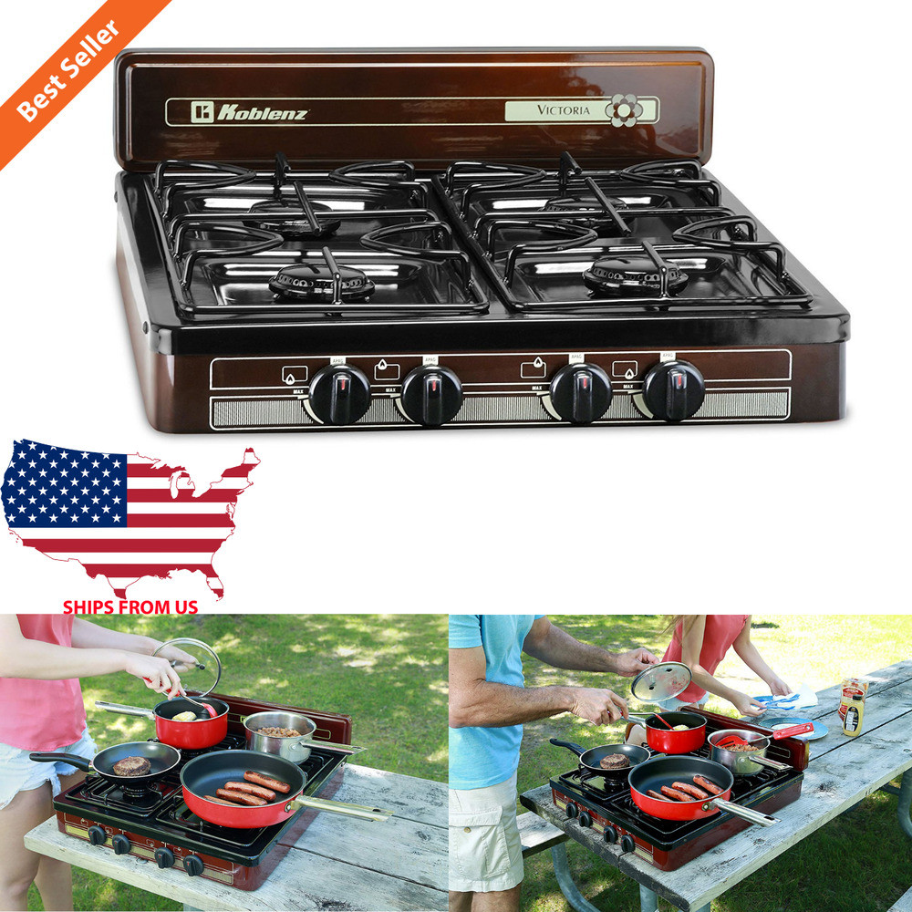 Outdoor Kitchen Stove  4 Burner Portable Propane Gas Stove Outdoor Camping