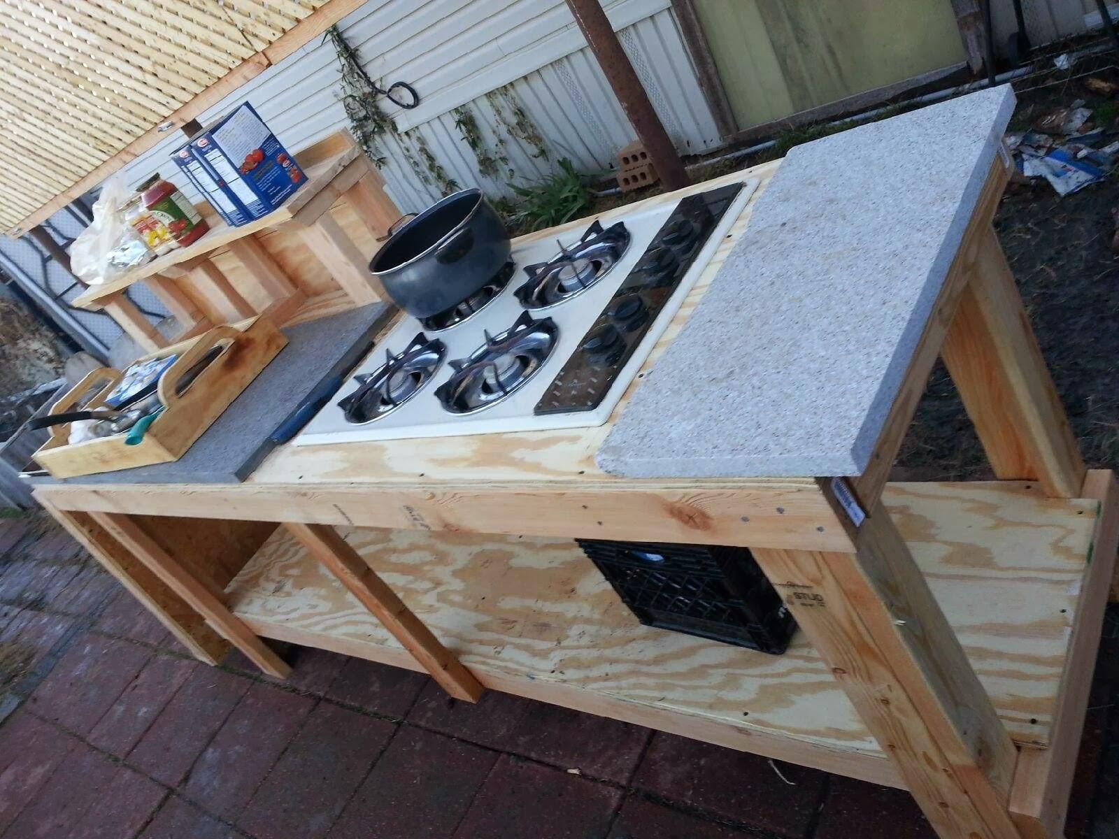 Outdoor Kitchen Stove  Modern Day Redneck Under A Hundred