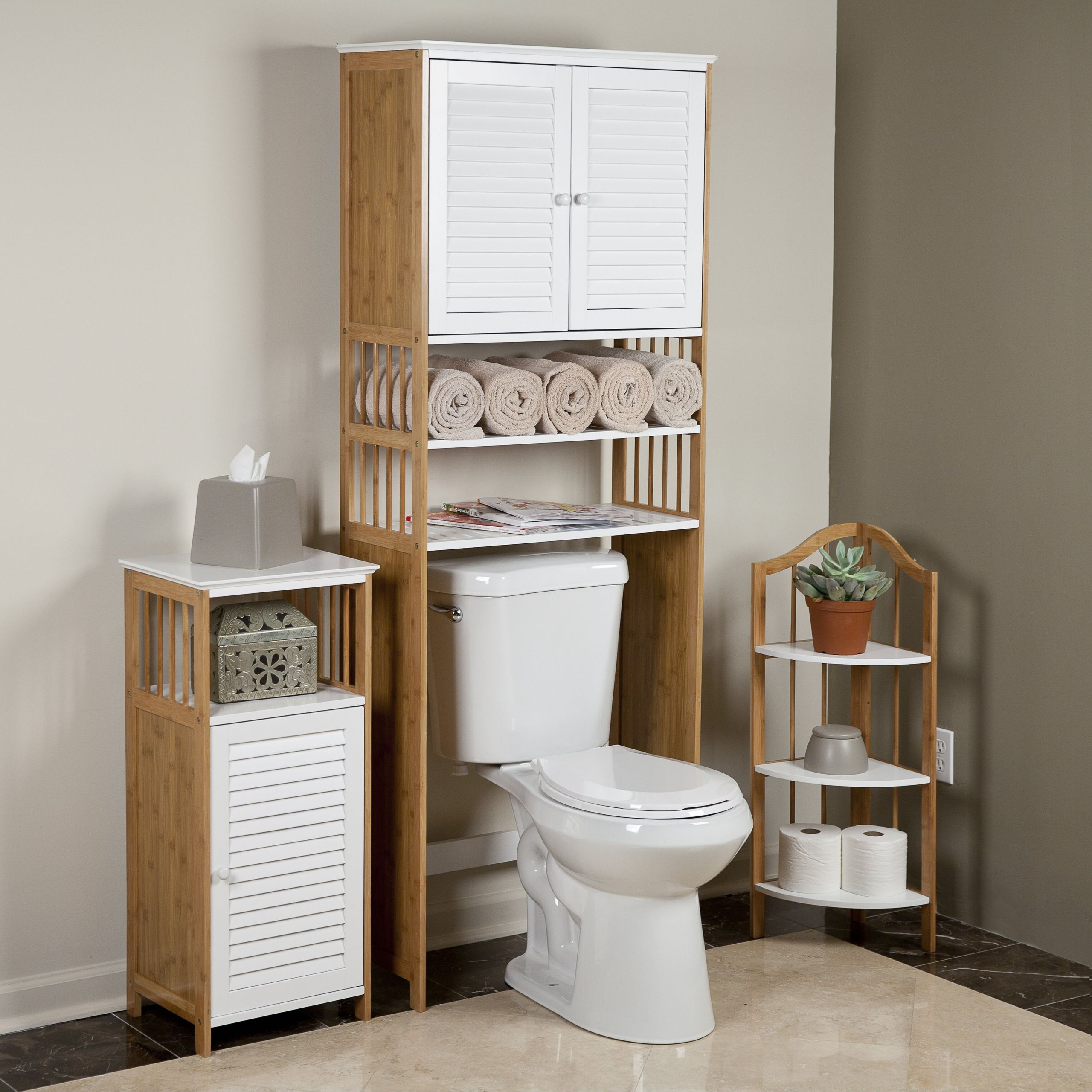 """Over The Toilet Bathroom Cabinets  DanyaB Bamboo Bathroom 27"""" x 71"""" Free Standing Over the"""