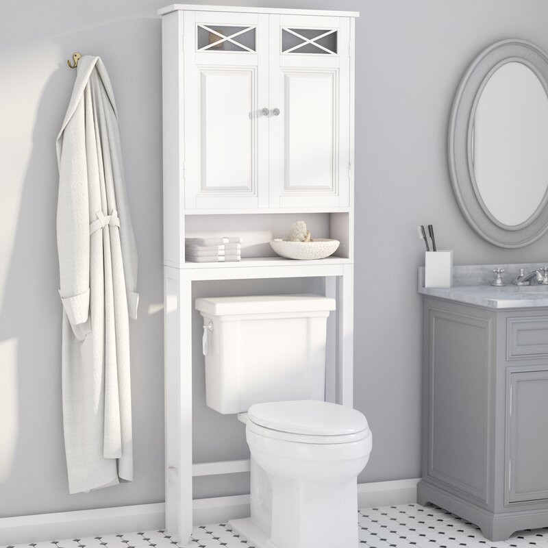"""Over The Toilet Bathroom Cabinets  Darby Home Co Coddington 25"""" W x 68"""" H Over The Toilet"""