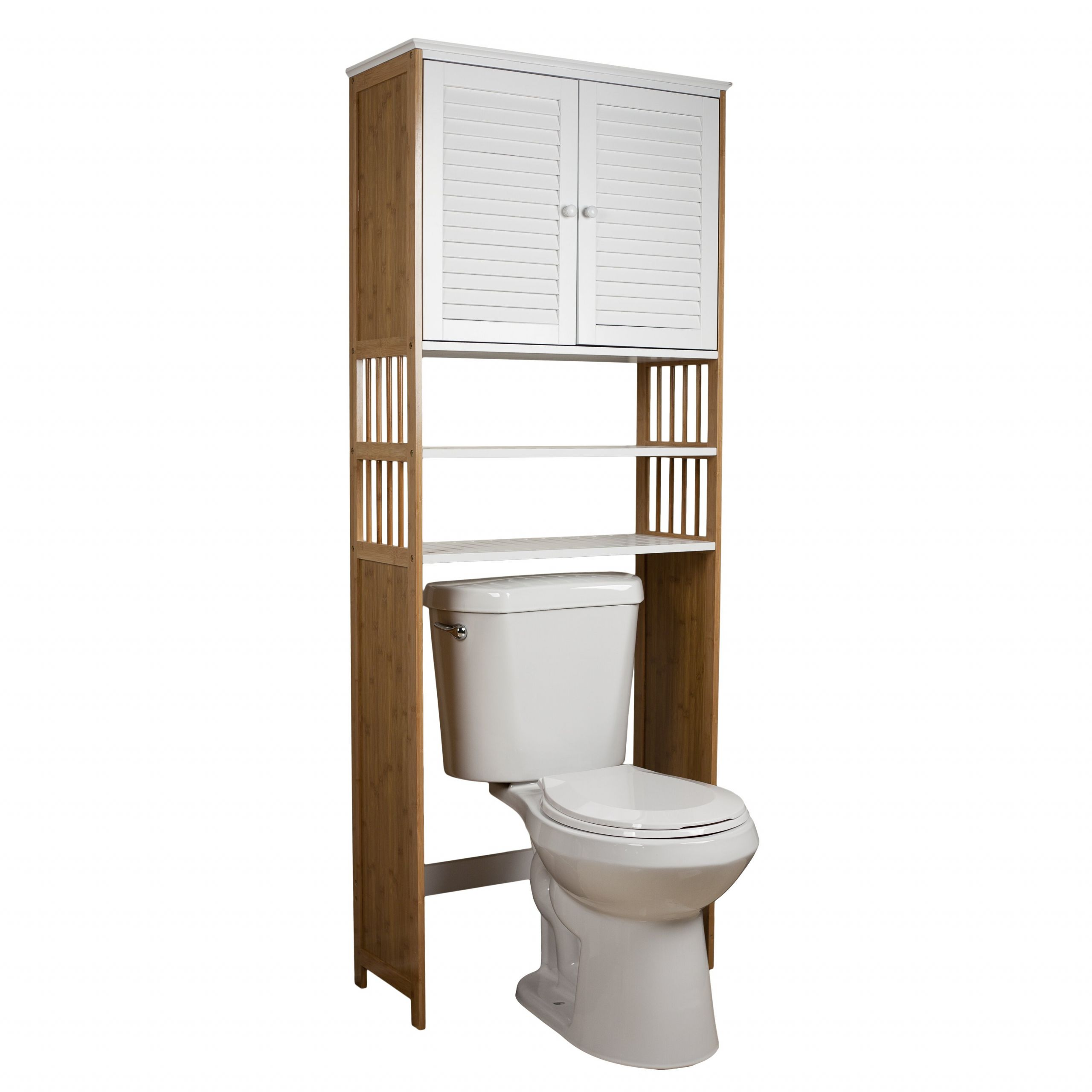 "Over The Toilet Bathroom Cabinets  DanyaB Bamboo Bathroom 27"" x 71"" Over the Toilet Cabinet"